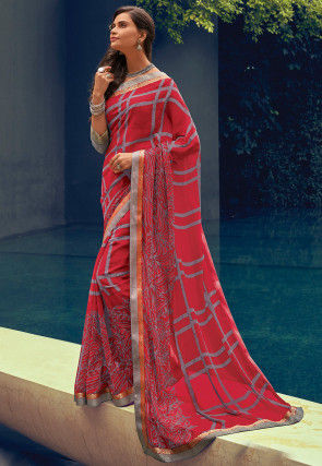 Printed Georgette Saree in Coral Red
