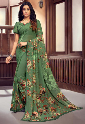 Printed Georgette Saree in Dusty Green
