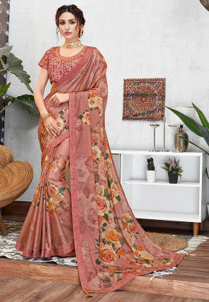 Printed Georgette Saree in Dusty Peach