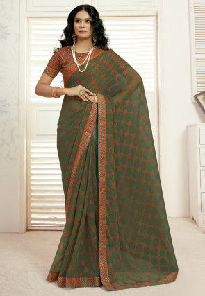 Printed Georgette Saree in Green and Rust