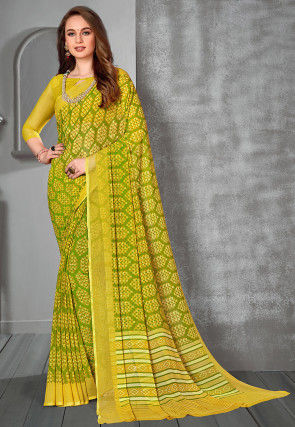 Printed Georgette Saree in Green and Yellow
