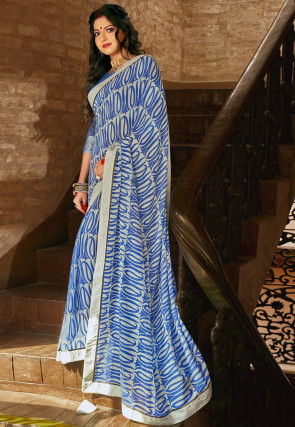 Printed Georgette Saree in Grey and Blue