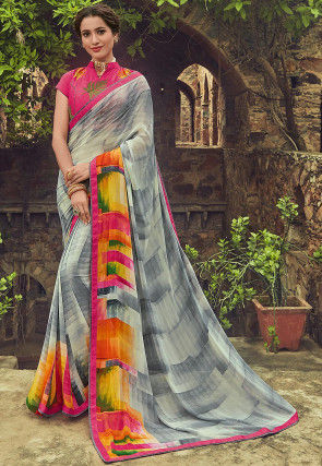 Printed Georgette Saree in Grey and Multicolor