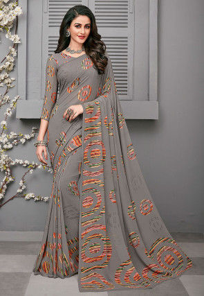 Printed Georgette Saree in Grey