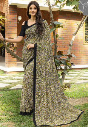 Printed Georgette Saree in Light Beige