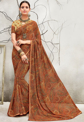 Printed Georgette Saree in Light Brown and Multicolor