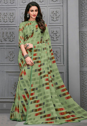 Printed Georgette Saree in Light Green