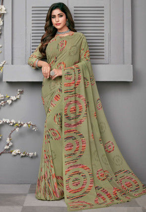 Printed Georgette Saree in Light Olive Green