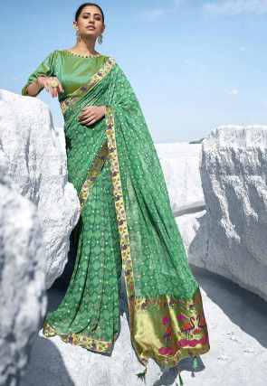Printed Georgette Saree in Light Teal Green