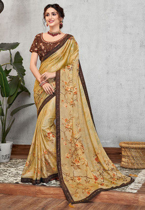 Printed Georgette Saree in Light Yellow