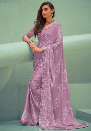 Printed Georgette Saree in Lilac