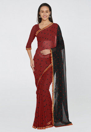 Printed Georgette Saree in Maroon and Black