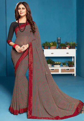 Printed Georgette Saree in Multicolor