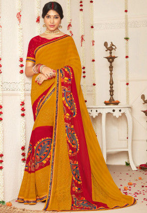 Printed Georgette Saree in Mustard and Red