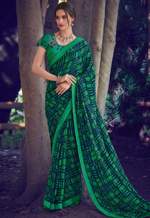 Printed Georgette Saree in Navy Blue and Green
