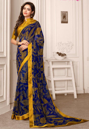 Printed Georgette Saree in Navy Blue