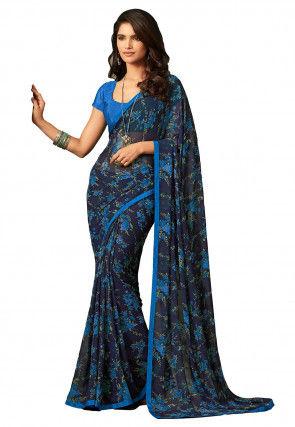 Printed Georgette Saree in Navy Blue