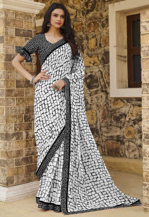 Printed Georgette Saree in Off White and Black