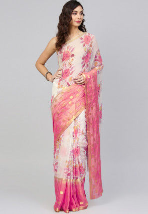 Printed Georgette Saree in Off White and Pink