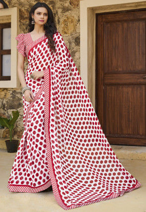 Printed Georgette Saree in Off White and Red