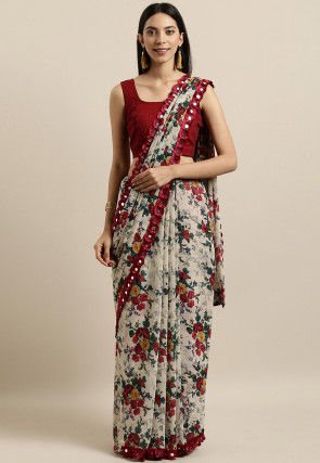 Printed Georgette Saree in Off White