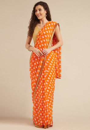 Printed Georgette Saree in Orange
