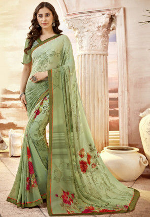 Printed Georgette Saree in Pastel Green Ombre