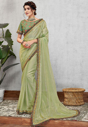 Printed Georgette Saree in Pastel Green