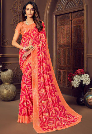 Printed Georgette Saree in Pastel Orange and Fuchsia