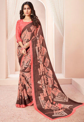 Printed Georgette Saree in Peach and Brown