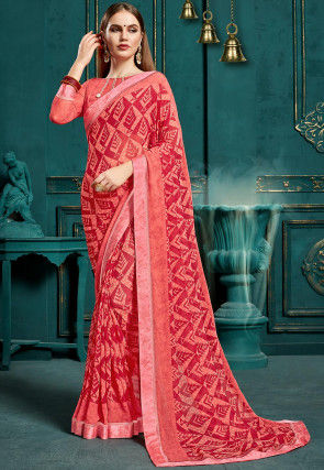 Printed Georgette Saree in Peach and Red