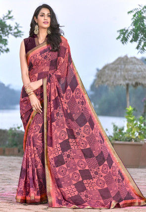 Printed Georgette Saree in Peach and Wine