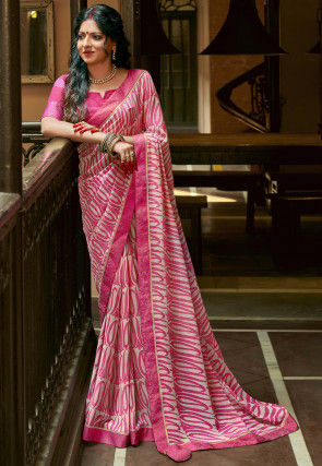 Printed Georgette Saree in Pink and Off White