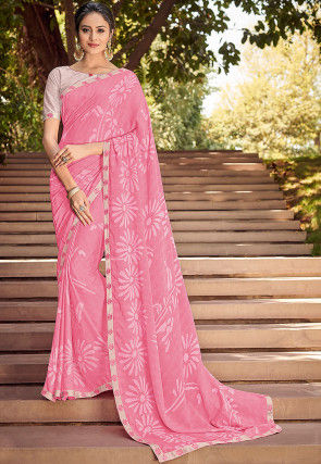 Printed Georgette Saree in Pink