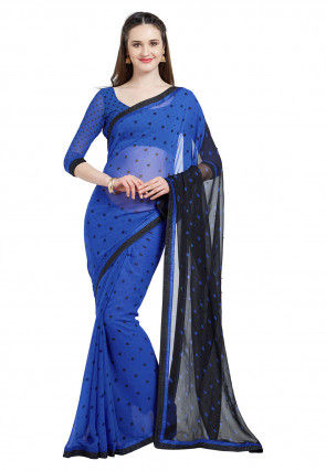 Printed Georgette Saree in Royal Blue and Black