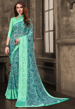 Printed Georgette Saree in Sea Green and Blue