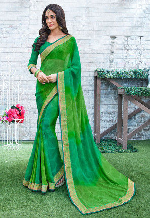 Printed Georgette Saree in Shaded Green and Blue