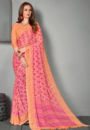 Printed Georgette Saree in Shaded Pink and Pastel Orange
