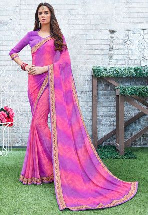 Printed Georgette Saree in Shaded Pink and Purple
