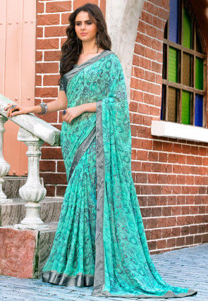 Printed Georgette Saree in Turquoise