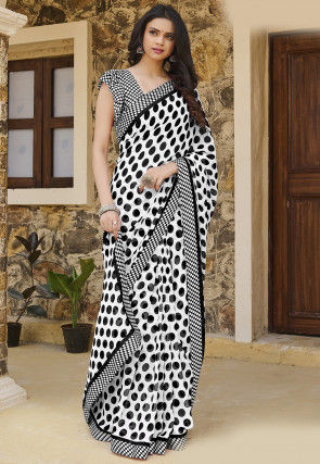 Printed Georgette Saree in White
