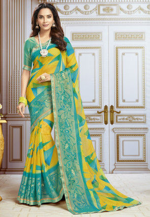 Printed Chiffon Saree in Yellow and Turquoise