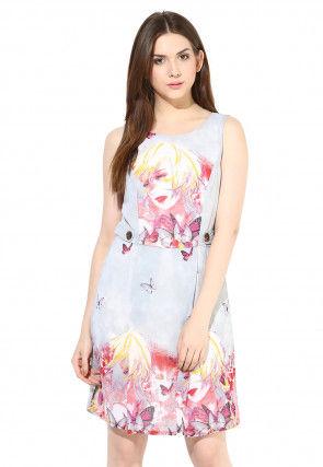 Printed Georgette Short Dress in Sky Blue