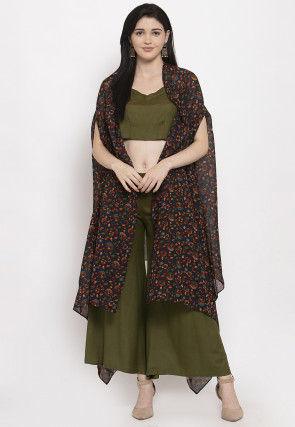 Printed Georgette Shrug with Palazzo in Multicolor and Green
