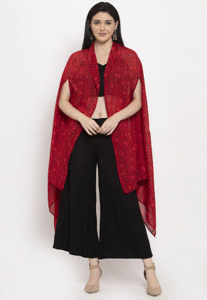 Printed Georgette Shrug with Palazzo in Red and Black