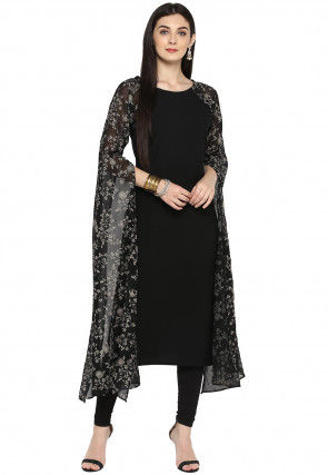 Printed Georgette Straight Kurta in Black