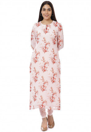 Printed Georgette Straight Kurta Set in Peach