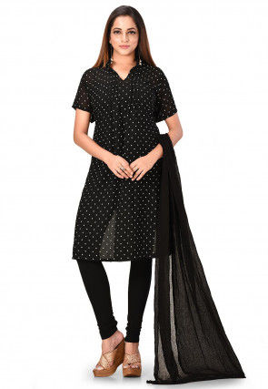 Printed Georgette Straight Suit in Black