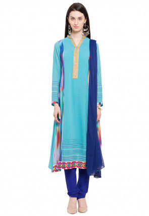 Printed Georgette Straight Suit in Light Blue
