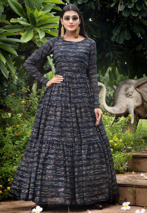 Printed Georgette Tiered Gown in Navy Blue